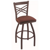 Holland Catalina Swivel Bar Stool with Upholstered Seat & Metal Frame, 30in