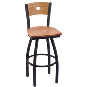 Holland Voltaire Swivel Bar Stool with Wooden Seat & Metal Frame, 360 or 180 Swivel, Style B, 25'' - 36'' Heights Available