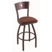 Holland Voltaire Swivel Bar Stool with Upholstered Seat & Metal Frame, 360 Swivel, Style B, 25'' - 36'' Heights Available