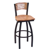 Holland Voltaire Swivel Bar Stool with Wooden Seat & Metal Frame, 360 or 180 Swivel, Style C, 25'' - 36'' Heights Available