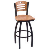 Holland Voltaire Swivel Bar Stool with Wooden Seat & Metal Frame, 360 or 180 Swivel, Style D, 25'' - 36'' Heights Available