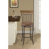 Charleston Swivel Vertical Spindle Back Counter Stool, Desert Tan Finish, 17-1/2''W x 21-5/8''D x 42''H, 26'' Seat Height