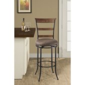 Charleston Swivel Ladder Back Counter Stool, Desert Tan Finish, 17-1/2''W x 21-5/8''D x 42''H, 26'' Seat Height