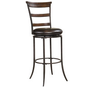 Cameron Swivel Ladder Back Bar Stool, Chestnut Brown Finish, 17-1/2''W x 21-5/8''D x 46''H, 30'' Seat Height