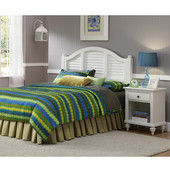 Bermuda Queen Headboard & Night Stand, Brushed White Finish
