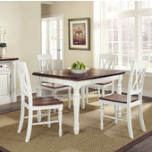 Monarch Rectangular 5-Pc. Dining Set with Dining Table and Four Double X-back Chairs, Oak and White, 48-1/4''W x 36''D x 30-1/4''H