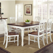 Monarch Rectangular 7-Pc. Dining Set with Dining Table and Six Double X-back Chairs, Oak and White, 48-1/4''W x 36''D x 30-1/4''H