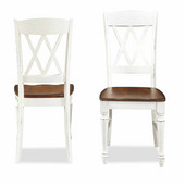Monarch Double X-back Dining Chairs, Oak and White, Set of 2, 20-3/4''W x 17-3/4''D x 38''H