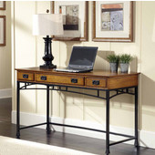 Modern Craftsman Executive Desk, Distressed Oak and Deep Brown, 54''W x 24''D x 31''H
