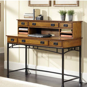 Modern Craftsman Executive Desk and Hutch, Distressed Oak and Deep Brown, 54''W x 24''D x 31''H