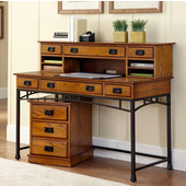 Modern Craftsman Executive Desk, Hutch and Mobile File, Distressed Oak and Deep Brown, 54''W x 24''D x 31''H