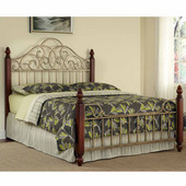 St. Ives Queen Bed, Cinnamon Cherry and Aged Gold Metal, 63-1/2''W x 88-1/2''D x 62''H