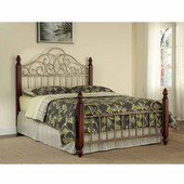 St. Ives King Bed, Cinnamon Cherry and Aged Gold Metal, 83''W x 88-1/2''D x 66''H
