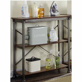 The Orleans Multi-Function Two Tier Shelf, Gray and Caramel, 38''W x 16''D x 39''H