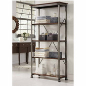 The Orleans Multi-Function Four Tier Shelf, Gray and Caramel, 38''W x 16''D x 76''H