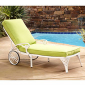 Biscayne Chaise Lounge Chair with Green Apple Cushion, White, 25-1/2''W x 72''D x 39-1/2''H