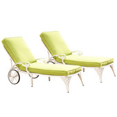 Biscayne Chaise Lounge Chairs with Green Apple Cushions, Pair, White