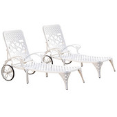 Biscayne Chaise Lounge Chairs, Pair, White