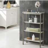 The Orleans Four Tier Shelf, Gray and Marble, 24''W x 11''D x 38''H