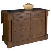 Aspen Kitchen Island w/ Hidden Drop Leaf Support/ Granite Top, Rustic Cherry Finish, 48'' W x 26-3/4'' D x 36''H