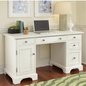 Naples Pedestal Desk, White Finish, 54''W x 24''D x 30-1/4''H