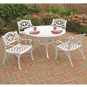 Biscayne 5-Pc. Dining Set w/ 48'' Table & Four Arm Chairs, White Finish, 48''W x 48''D x 29''H