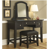 Bedford Black Vanity Table, Mirror & Bench, 46''W x 19''D x 57''H