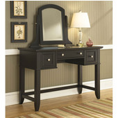 Bedford Black Vanity Table & Mirror, 46''W x 19''D x 57''H