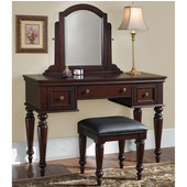 Lafayette Vanity Table, Mirror & Bench, Cherry, 46''W x 19-3/4''D x 57''H