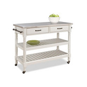 Savannah Cart with Stainless Steel Top, White, 47-1/4'' W x 20-1/2'' D x 36''H