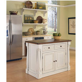 Monarch Kitchen Island, Antique White Sanded Distressed Finish, 48'' W x 25'' D x 36''H
