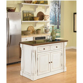 Monarch Kitchen Island with Granite Top, Antique White Sanded Distressed Finish, 48'' W x 25'' D x 36''H