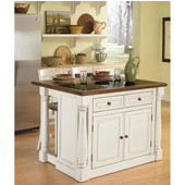 Monarch Kitchen Island with Granite Top and Two Stools, Antique White Sanded Distressed Finish, 48'' W x 25'' D x 36''H