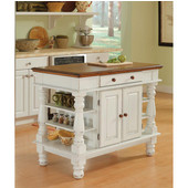 Americana Kitchen Island, Antique White Sanded Distressed Finish, 42'' W x 24'' D x 36''H