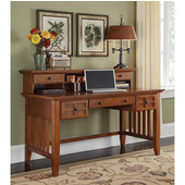 Arts & Crafts Executive Desk & Hutch, Cottage Oak, 54''W x 28''D x 39-1/2''H