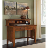 Arts & Crafts Student Desk & Hutch, Cottage Oak, 42''W x 24''D x 38-1/2''H