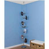 Floor To Ceiling Shoe Tree, 6 Carousels, 1 Basket, Chrome