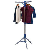 Tripod Floor Standing Clothes Dryer with Stainless Steel Clad Pole, Plastic Legs/Arms, 3 Arms Holds Up to 36 Hangers, 26'' W x 26'' D x 64-37/64'' H