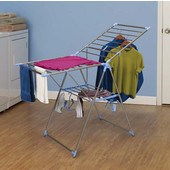 Gullwing Clothes Drying Rack with 2 Shoe Hangers in Stainless Steel, 44 Feet of Drying Space, 61-5/8'' W x 25-19/32'' D x 39'' H