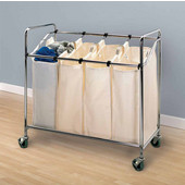 Heavy Duty Quad Sorter, with Removable Canvas Bags and Casters, 34'' W x 17'' D x 33'' H