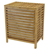 Bamboo Open-Slat Hamper with Lid and Natural Cotton Bag, 21-1/16'' W x 14-3/4'' D x 23-5/8'' H