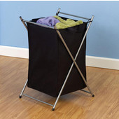 X-Frame Laundry Hamper in Satin Silver with Polyester Black Bag, 17'' W x 19-3/4'' D x 28-3/8'' H