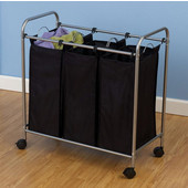 Rolling Triple Laundry Sorter in Satin Silver with Polyester Black Bags and Casters, 30'' W x 15'' D x 31-1/4'' H