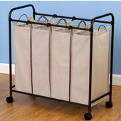 Rolling Quad Laundry Sorter in Antique Bronze with Polyester Natural Flax Color Bags and Casters, 32-1/2'' W x 15'' D x 33-1/8'' H
