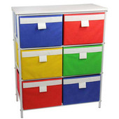 3 Shelf Storage Unit, Bright White-Hard Top, 6 Cubbies-Bright