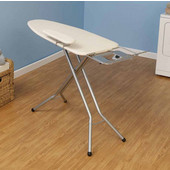 Fibertech Widetop Ironing Board with Satin Silver 4-Leg, Natural Cotton Cover & 6mm Fiber Pad - without cord minder