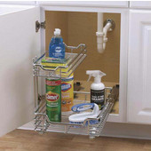 12'' Under Sink Sliding Organizer-KD Chrome Single Pack, Min Cab Opening: 12.5'' W x 17.75'' D x 14.25'' H
