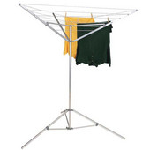 Portable Umbrella Dryer in Aluminum with Tripod Feet, Extends to 52 Feet, 64 Feet of Drying Space  , 62'' W x 52'' D x 72'' H
