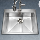Bellus Zero Radius Topmount Single Bowl Kitchen Sink, Stainless Steel, 25''W x 22''D x 9''H