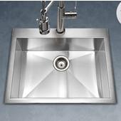 Bellus Zero Radius Topmount Single Bowl Kitchen Sink, Stainless Steel, 25''W x 22''D x 9''H